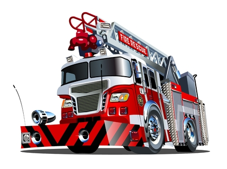 Vector cartoon firetruck Stock Illustratie
