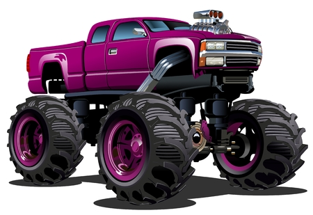 pickup: Cartoon Monster Truck Illustration
