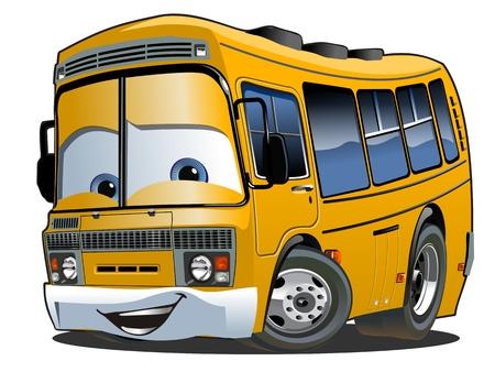 漫画の学校のバス  イラスト・ベクター素材