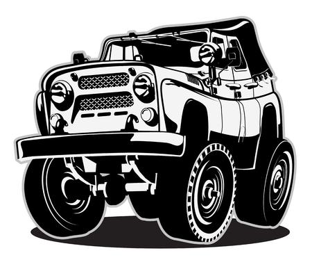 4 wheel: Cartoon 4 ruedas motrices Vectores