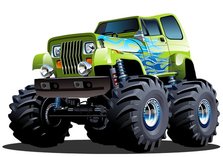 truck tractor: Cartoon Monster Truck Illustration