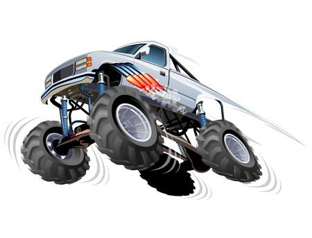 cartoon tractor: Cartoon Monster Truck Illustration