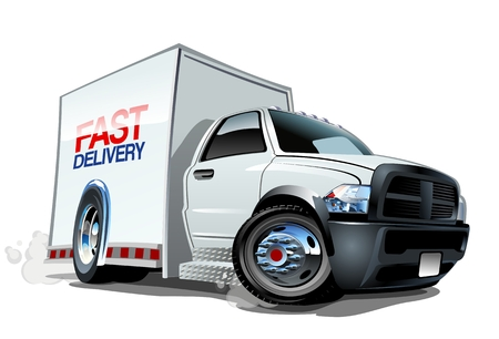 Cartoon delivery cargo truck