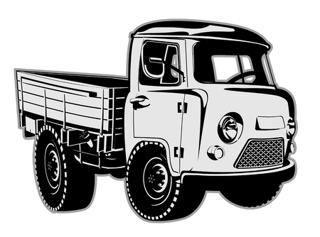 off road: Cartoon delivery cargo pickup