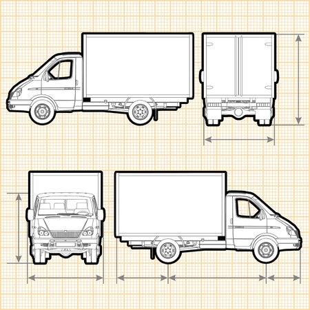 front wheel drive: Delivery Cargo Truck Illustration