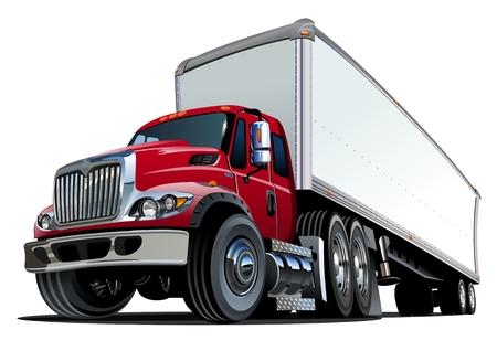 ruchome: Cartoon semi truck. Ilustracja