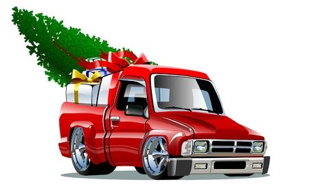 pickup truck: Cartoon Christmas Pickup