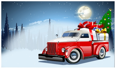 winter car: Vector Christmas Card Illustration