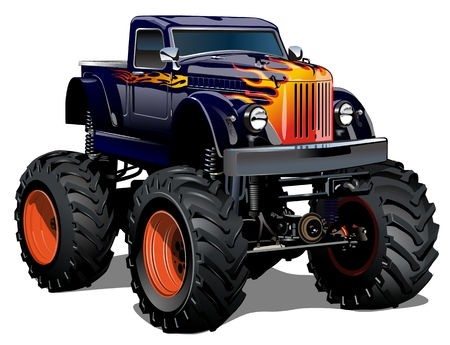 Cartoon Monster Truck. Available EPS-10 separated by groups and layers with transparency effects for one-click repaint