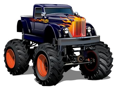 pickup truck: Monster Truck Cartoon. EPS-10 disponibles separados por grupos y capas con efectos de transparencia para un solo click repaint