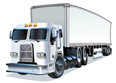 loading truck: Cartoon Semi Truck