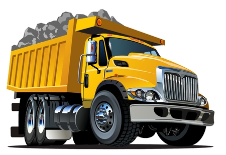 Vector Cartoon Dump Truck Illustration