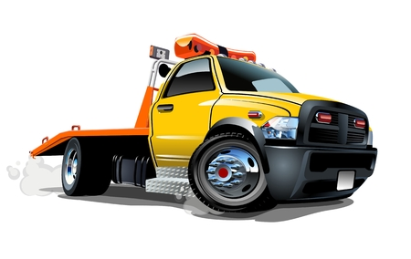 camioneta pick up: Camión de remolque de la historieta Vectores