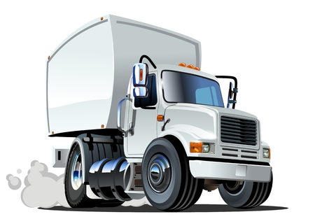 container freight: Cartoon delivery cargo truck