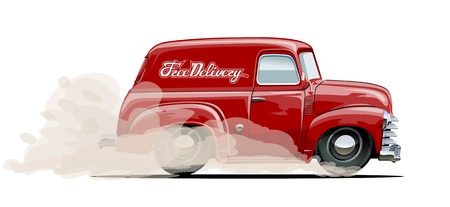 delivery truck: Cartoon retro delivery van