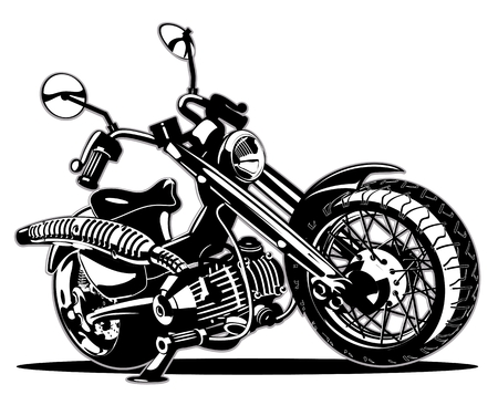 bicycle wheel: Cartoon Motorbike Illustration