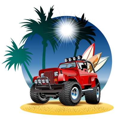 off road: cartoon 4x4 car on beach