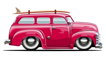 hot rod: Cartoon retro van