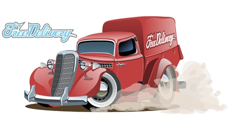 pick: Cartoon retro delivery van