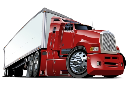 white truck: Cartoon semi truck Illustration