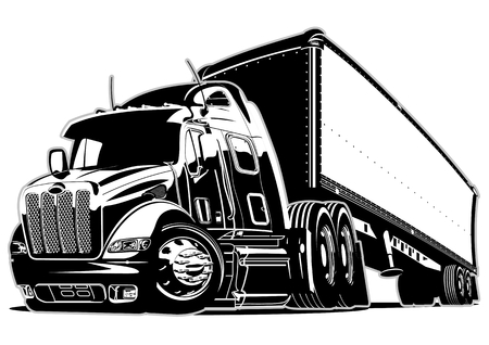 truck tractor: Cartoon semi truck Illustration