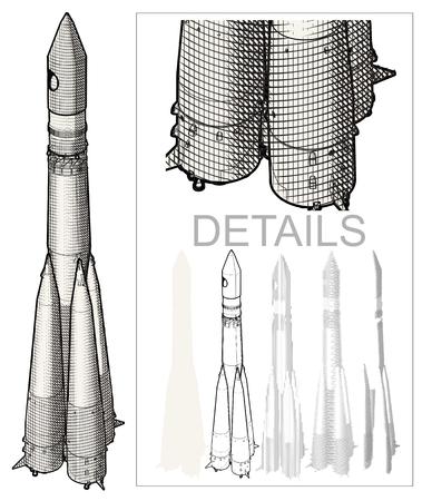 cohetes: Rocket de espacio en el estilo de grabado