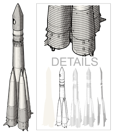 Space Rocket at Engraving style