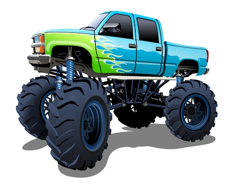 engine flame: Cartoon Monster Truck Illustration