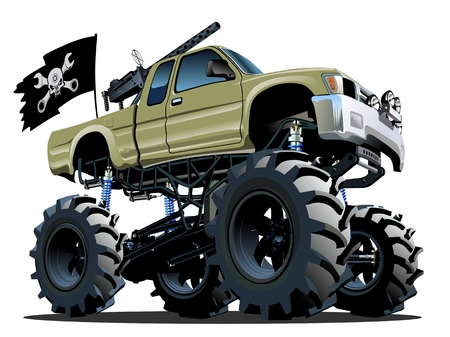 calavera caricatura: Cartoon Monster Truck Vectores