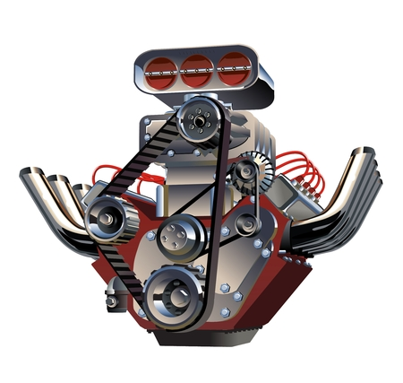 Vector Cartoon Turbo Engine Illustration