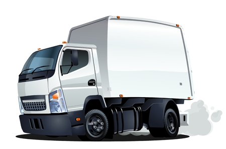 camion caricatura: Entrega de dibujos animados o camión de carga Vectores