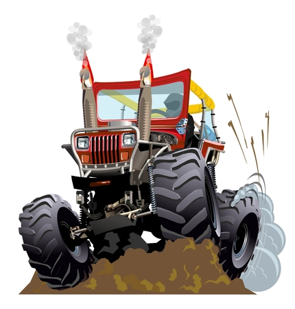 truck tractor: Cartoon Monster Truck. Available EPS-10 vector formats separated by groups and layers for easy edit Illustration