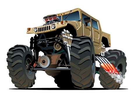 car: Cartoon Monster Truck Vettoriali