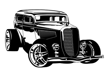 car model: Retro Hotrod. Available EPS-8 vector format separated by groups and layers for easy edit Illustration
