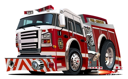 bombera: Vector camión de bomberos de la historieta. Formato vectorial EPS-10 disponibles separados por grupos y capas para facilitar la edición