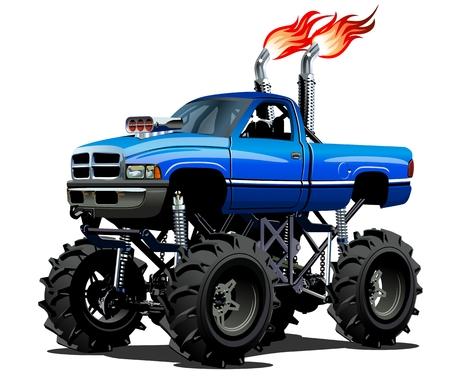 camioneta pick up: Monster Truck Cartoon. EPS-10 disponibles separados por grupos y capas con efectos de transparencia para un solo click repaint
