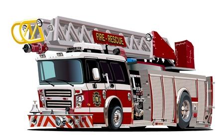 brandweer cartoon: Vector Cartoon Fire Truck. Beschikbare EPS-10 vector formaat gescheiden door groepen en lagen voor eenvoudige bewerken Stock Illustratie