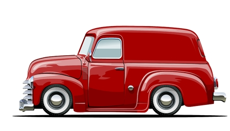 low tire: Vector cartoon delivery van. Available vector format separated by groups with transparency effects for one-click repaint Illustration