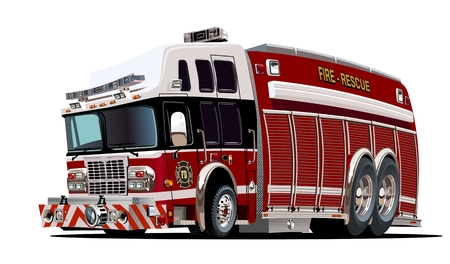 fire truck: Vector cartoon firetruck. Available EPS-10 vector format separated by groups and layers for easy edit