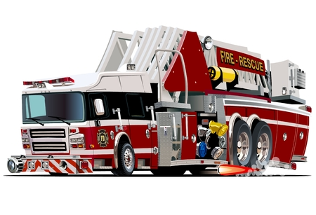 recue: Vector Cartoon Fire Truck. Available vector format separated by groups and layers for easy edit
