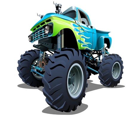 a wheel: Cartoon Monster Truck. separated by groups and layers with transparency effects for one-click repaint