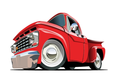 car side: Cartoon retro pickup . Available EPS-10 vector format separated by groups with transparency effects for one-click repaint
