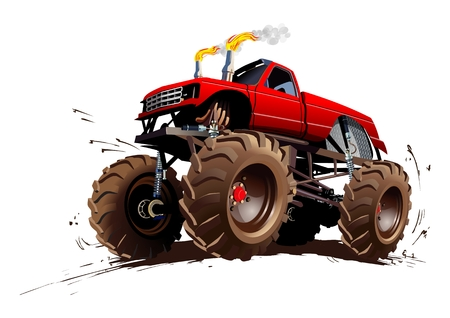 truck tractor: Cartoon Monster Truck. Available EPS-10 separated by groups and layers with transparency effects for one-click repaint