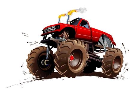 camión: Monster Truck Cartoon. EPS-10 disponibles separados por grupos y capas con efectos de transparencia para un solo click repaint
