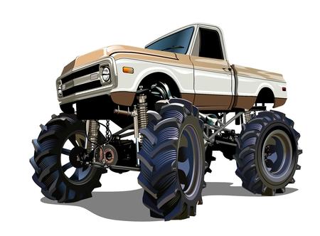 camioneta pick up: Monster Truck Cartoon. Disponible separados por grupos y capas con efectos de transparencia para un solo click repaint