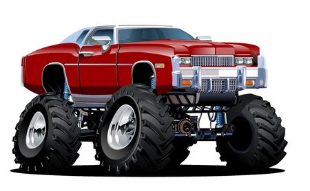 carro caricatura: Monster Truck Cartoon. Disponible separados por grupos y capas con efectos de transparencia para un solo click repaint