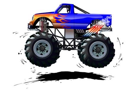camion caricatura: Monster Truck Cartoon. Disponible separados por grupos y capas con efectos de transparencia para un solo click repaint