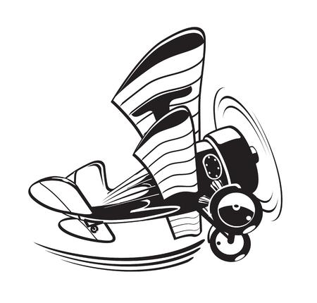 航空ショー: ベクトル漫画の複葉機。簡単な編集のための 3 つの層で区切られた利用可能な EPS 10 ベクトル形式  イラスト・ベクター素材
