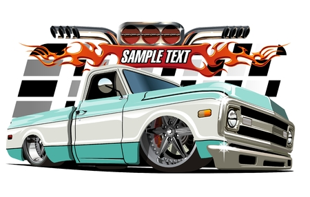 truck road: Vector cartoon Lowrider. Available separated by groups and layers with transparency effects for one-click repaint