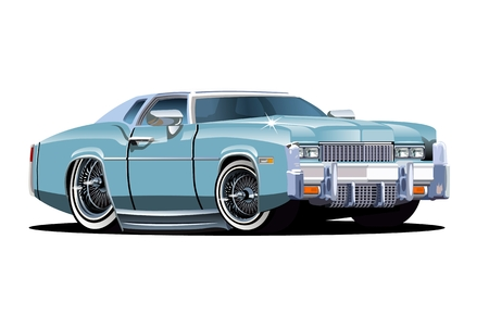 low tire: Vector cartoon retro car. Available EPS-10 separated by groups and layers with transparency effects for one-click repaint